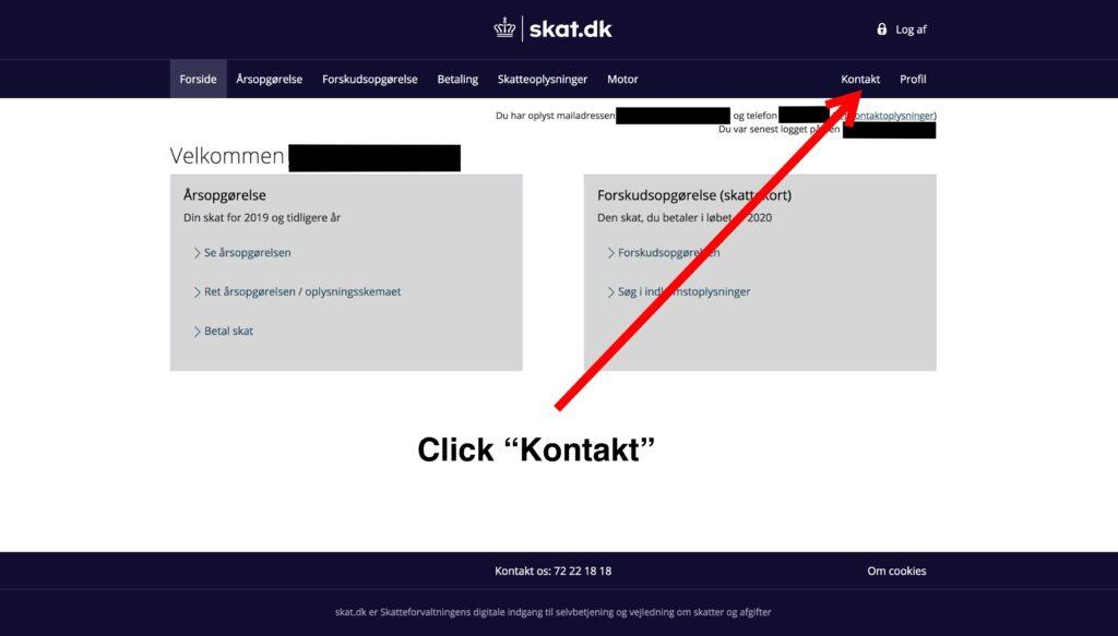2. Click Kontakt