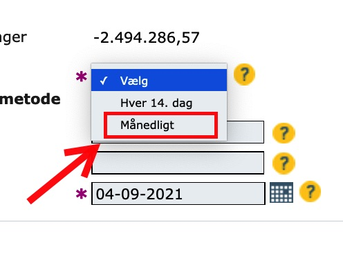 """Step 8 of making a repayment plan for VAT loan: Choose the repayment frequency. We recommend monthly (""""Månedligt"""")."""